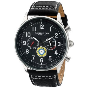 Akribos XXIV Armbanduhr Men'S Quartz Genuine Leather Strap Watch Analog Schweizer Quarz