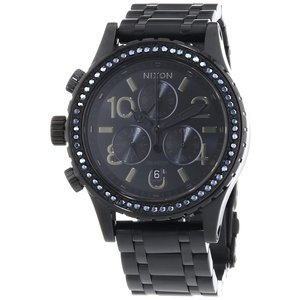 Nixon Damen-Armbanduhr 38-20 Chrono All Black Crystal Chronograph Quarz Edelstahl A4041879-00