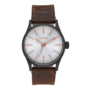 Nixon The Sentry 38 Leather Black / Silver / Brown (A3772358)