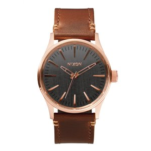 Nixon The Sentry 38 Leather Rose Gold / Gunmetal / Brown (A3772001)
