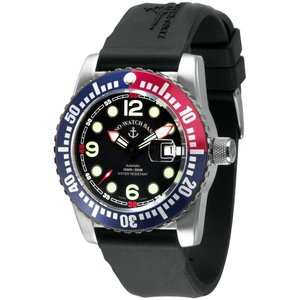 Zeno-Watch Herrenuhr - Airplane Diver Automatic Points, blue/red - 6349-3-a1-47
