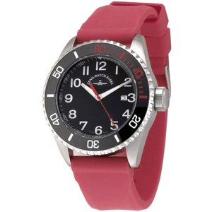 Zeno-Watch Herrenuhr - Diver Ceramic Quartz black+red - 6492-515Q-a1-17