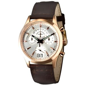 Zeno-Watch Herrenuhr - Gentleman Chronograph Big Date Q gold plated - 6662-8040Q-Pgr-f3