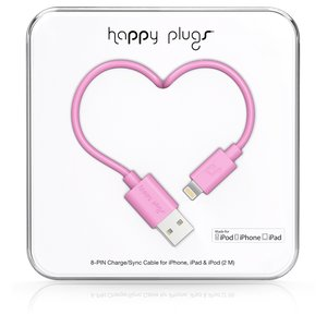 Happy Plugs Lightning auf USB Ladekabel Datenkabel Sync-Kabel Kompatibel mit Apple Lightning Geräten iPhone, iPad, iPod - Pink