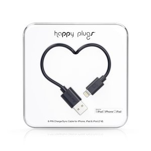Happy Plugs Lightning auf USB Ladekabel Datenkabel Sync-Kabel Kompatibel mit Apple Lightning Geräten iPhone, iPad, iPod - Schwarz