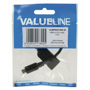 Valueline VLMP60515B0.20 USB 2.0 A-micro B OTG Datenkabel (0,2 m)