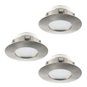 Eglo PINEDA LED Einbauspot 3er-Set, d=78, starr, 3-flg., nickel-matt