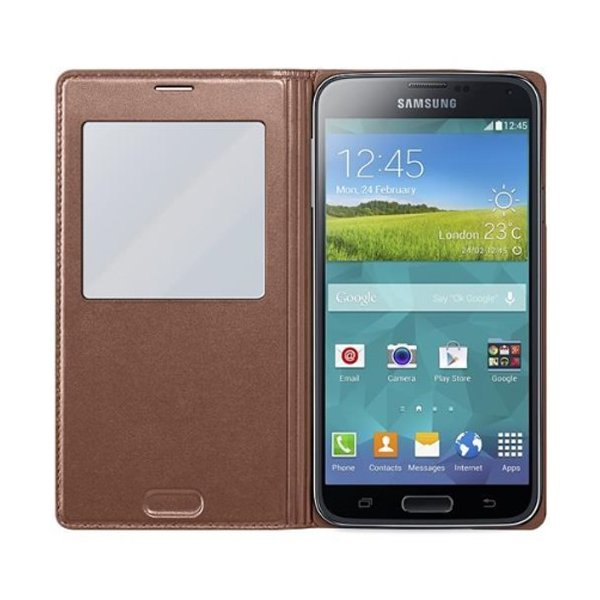 Samsung Galaxy S5 Flip Cover mit Sichtfenster rose gold