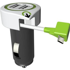 Secomp q2power Car Charger 3.1A 2X USB mit Micro USB Kabel