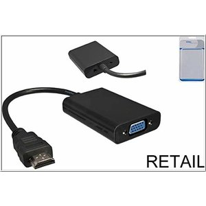 Dinic - Video- / Audio-Adapter - HDMI / VGA - HDMI, 19-polig, 5-polig Micro-USB, Typ A (nur Spannungsversorgung) - bis - HD-15, Mini-Phone Stereo 3,5 mm (W) - 15cm - Schwarz (HDMI-VGA)