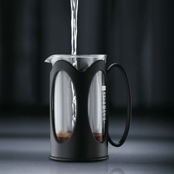Bodum kenya Kaffeebereiter (French Press System, Permanent Edelstahl-Filter, 0,35 liters) schwarz