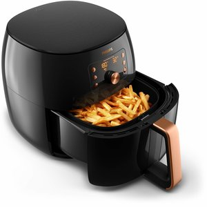 Philips HD9860-90 Airfryer XXL Smart Sensing - das Original (2225 W, Heißluftfritteuse, für 4-5 Personen, 1400g, digitales Display) schwarz-rosegold