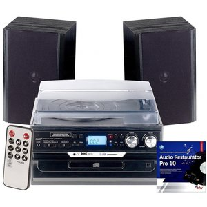 Auvisio MHX-600.bt 5in1 Plattenspieler Digitalisierer Musikplayer mit Lautsprechern Stereonanlage digitalisieren MP3 CD MC Kassette USB Vinyl