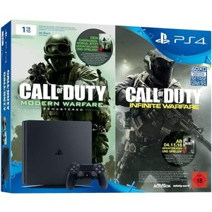 Sony PlayStation 4 Slim Jet Black 1TB Bundle inkl. Call of Duty: Modern Warfare Remastered + Call of Duty: Infinite Warfare Early Access (USK 18)