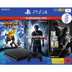 Sony PlayStation 4 Slim Jet Black 1TB Bundle inkl. Ratched & Clank + Uncharted 4: A Thief's End + The Last of Us: Remastered (USK 18)