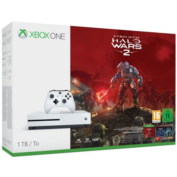 Microsoft Xbox One S Robot White 1TB Bundle inkl. Halo Wars 2: Ultimate Edition