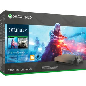 Microsoft Xbox One X Gold Rush Special Edition Schwarz 1TB Bundle inkl. Battlefield V - Deluxe Edition + Battlefield 1 + Battlefield 1943