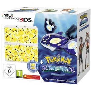 New Nintendo 3DS Weiß 256MB & 4GB Speicherkarte Bundle inkl. Pokémon Alpha Saphir