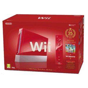 Nintendo Wii Rot 512MB Bundle inkl. New Super Mario Bros.