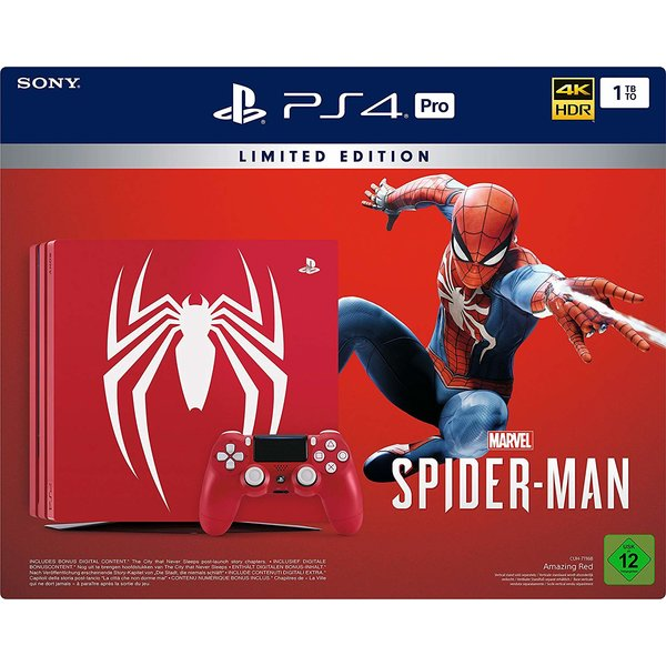 Sony PlayStation 4 Pro Limited Edition Spider-Man Rot 1TB Bundle inkl. Marvel's Spider-Man