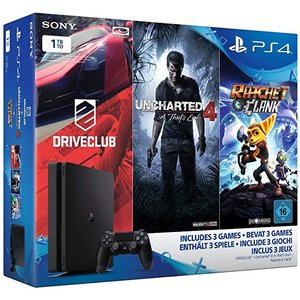 Sony PlayStation 4 Slim Jet Black 1TB Bundle inkl. Driveclub + Uncharted 4: A Thief's End + Ratchet & Clank