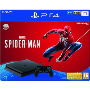 Sony PlayStation 4 Slim Jet Black 1TB Bundle inkl. Marvel's Spider-Man