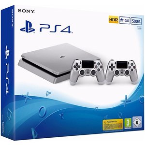 Sony PlayStation 4 Slim Silver 500GB inkl. 2. Controller