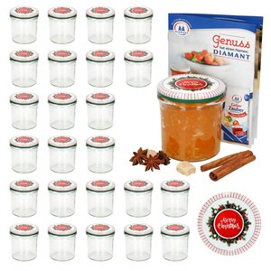 25er Set Sturzglas 350 ml To 82 Merry Christmas Deckel incl. Diamant Gelierzauber Rezeptheft