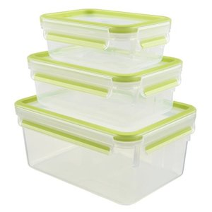 Emsa 515585 Food Clip & Close, Plastik, Transparent - Grün, 0,55 - 1 - 2,3 Liter, Set mit 3 Boxen