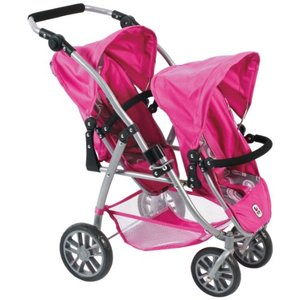 Bayer Chic 2000 - Zwillingspuppenwagen - Tandem-Buggy Vario (Hot Pink Pearls)