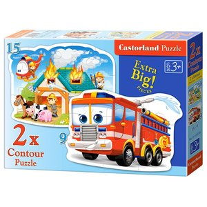 Castorland - Fire Brigade in Action - 2x Puzzle 9 - 15 teilig (B-020058)