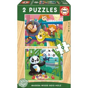Educa - 17616 Holzpuzzles 2X9 Zoo Tiere