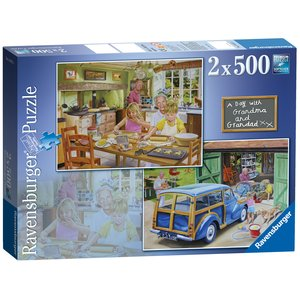 Ravensburger - Day With Grandpa and Gandma Jigsaw Puzzles (Pack of 2. 500 Pieces Each)