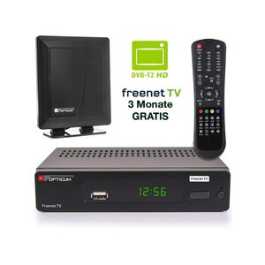 Opticum AX 570 Freenet TV digitaler DVB-T2 Receiver DVB-T H.265 Empfänger inklusive starke 30db DVB-T Antenne in schwarz