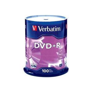 DVD+R Discs, 4.7GB, 16x, Spindle, 100/Pack, Sold as 1 Package