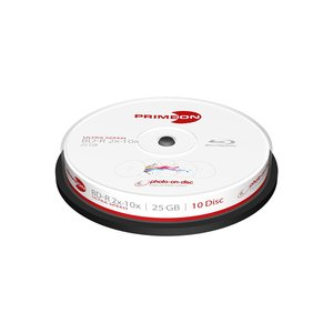 Primeon BD-R 25GB-2-10x Cakebox (10 Disc), photo-on-disc Surface, Inkjet Fullsize Printable weiß 36 x 10 cm