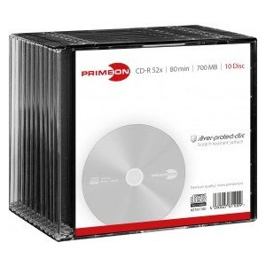 PRIMEON CD-R 80Min-700MB-52x Slimcase (10 Disc), silver-protect-disc Surface