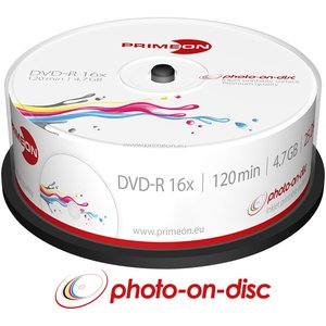PRIMEON DVD-R 4.7GB-120Min-16x Cakebox (25 Disc), photo-on-disc Surface, Inkjet Fullsize Printable