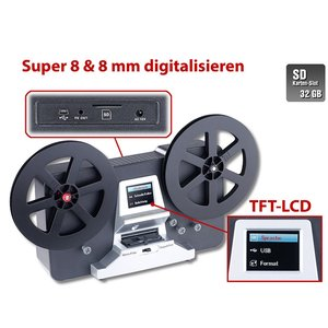 Somikon HD-XL-Film-Scanner & -Digitalisierer Super 8 und 8 mm alte Filme digitalisieren S8, Retro, Grabber, Vintage, Kopieren, Projektor, Konverter, Digitizer, Schmalfilm, Filmabtaster, digitalisieren, Videorecorder, Digital Überspielen, konvertieren, sca