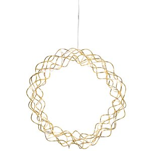 LED-Dekoleuchte Curly Dewdrops ca. 30 x 30 cm, 30 warmwhite LED, Material: Metall, messingfarben, transparentes Kabel mit Trafo