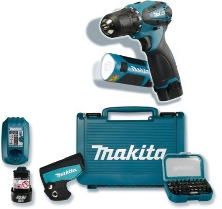makita df330dwlx1 mit akku lampe und bit set im koffer. Black Bedroom Furniture Sets. Home Design Ideas