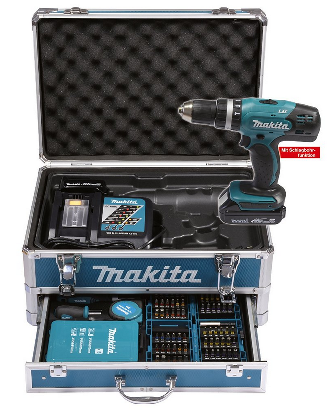makita dhp453ryx2 2 x 1 5 ah test akkuschrauber. Black Bedroom Furniture Sets. Home Design Ideas