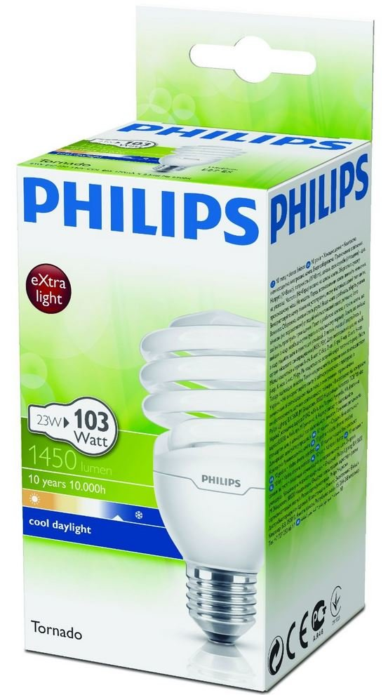 philips energiesparlampe tornado 23 watt 865 e27 test leuchtmittel. Black Bedroom Furniture Sets. Home Design Ideas