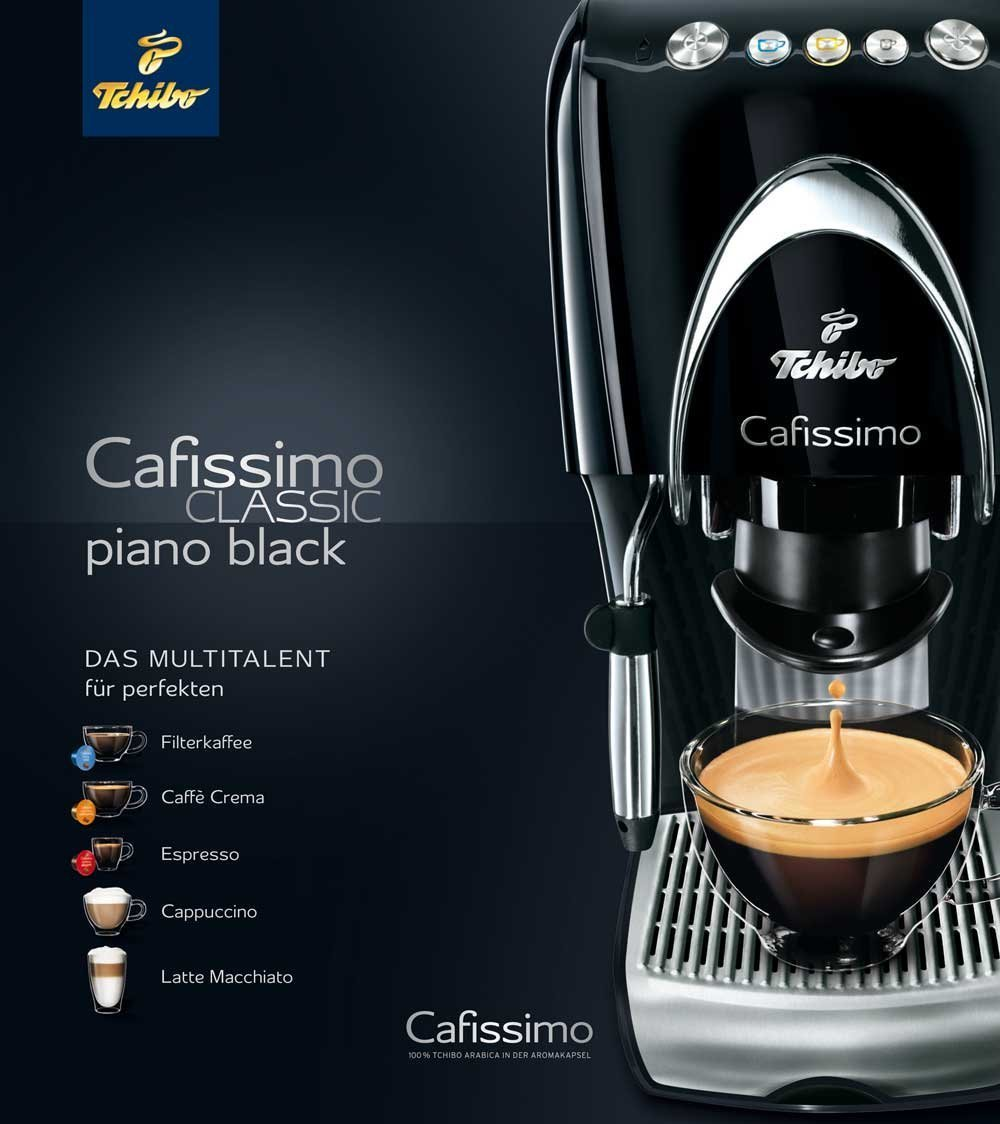 tchibo cafissimo classic piano black test kaffeekapselmaschine. Black Bedroom Furniture Sets. Home Design Ideas